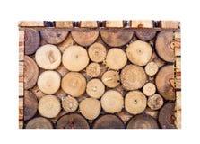 箱子方形的木日志褐色覆盖物样式 免版税库存图片