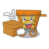 箱子木台车字符动画片 库存照片