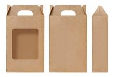 箱子棕色窗口形状删去了包装的模板,空的卡拉服特箱子纸板被隔绝的白色背景,箱子纸自然的卡拉服特 图库摄影