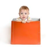 箱子的婴孩 库存照片