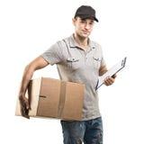 箱子,包裹的传讯者手 库存图片