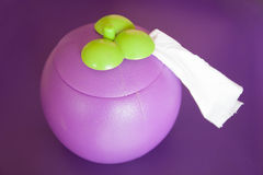 组织箱子紫色山竹果树 库存照片