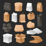 箱子3d包装给现实集合零售的运输紧凑和空的组装软件容器礼物纸板做广告 库存照片