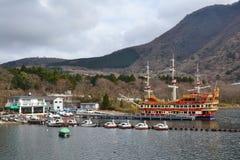 箱根观光的巡航箱根Machi码头 库存照片