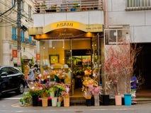 箱根,日本- 2017年7月02日:一家花店的输入的看法,与在罐里面的花,位于外部  库存照片