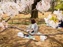 箱根,日本- 2017年7月02日:坐在公园和采取一selfie的未认出的妇女在hanami公园在樱桃期间 库存图片