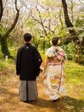 箱根,日本- 2017年7月02日:走和享受看法的未认出的夫妇在hanami公园在樱花期间 库存照片