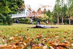 箱根,日本- 2017年11月5日:雕塑露天沉思 免版税库存照片