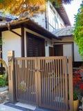 箱根,日本- 2017年7月02日:位于hanami的一个美丽的房子的正面图在京都 免版税库存照片
