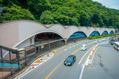 箱根,日本- 2017年7月02日:担当入口入箱根山区度假村的箱根Yumoto驻地 库存照片
