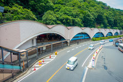 箱根,日本- 2017年7月02日:担当入口入箱根山区度假村的箱根Yumoto驻地 库存图片