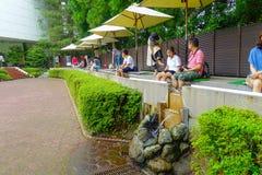 箱根,日本- 2017年7月02日:未认出人refresing他们在箱根露天博物馆结算水的里面或 免版税库存照片