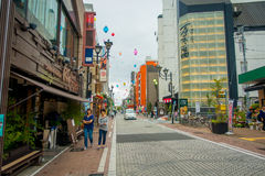箱根,日本- 2017年7月02日:街道美丽的景色  它为箱根Tozan公共汽车也提供公共汽车站回到箱根 免版税图库摄影