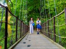 箱根,日本- 2017年7月02日:走在桥梁的未认出的人民在箱根露天博物馆 库存图片