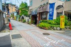 箱根,日本- 2017年7月02日:都市小街道日本式在箱根 库存照片