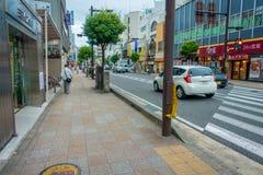 箱根,日本- 2017年7月02日:都市小街道日本式在箱根 库存图片