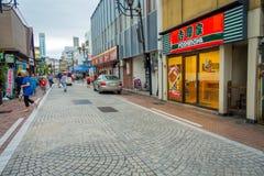 箱根,日本- 2017年7月02日:都市小街道日本式在箱根 免版税图库摄影