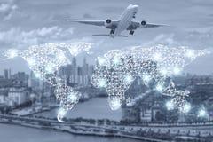 货箱的地图全球性伙伴连接 图库摄影