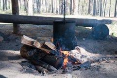 篝火与在森林里kithen 免版税库存图片