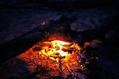 篝火在夏夜,灼烧的日志 免版税图库摄影
