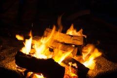 篝火在夜 库存照片