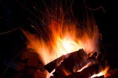 篝火在晚上烧在一顿野餐期间在森林里在火的明亮,橙色和黄色火 图库摄影