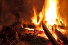 篝火在晚上 免版税库存照片