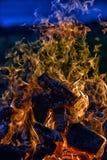 篝火在晚上 图库摄影