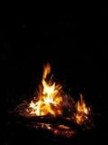 篝火在黑背景的晚上 免版税图库摄影