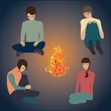 篝火夜,青年人艺术摘要创造性的现代传染媒介例证 图库摄影