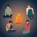 篝火夜,青年人艺术摘要创造性的现代传染媒介例证 免版税库存图片