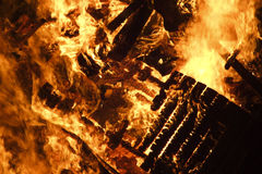 篝火灼烧的木头 库存图片