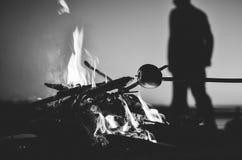 篝火野营在晚上的,满月 免版税库存照片