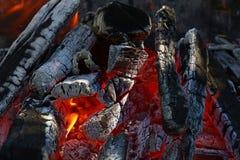 篝火柴火在壁炉的火焰尖顶火焰  图库摄影