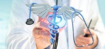 篡改举行redering医疗cadaceus和听诊器的3d 库存照片