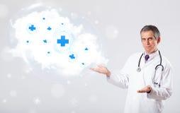 篡改听与医疗标志的抽象云彩 免版税库存照片