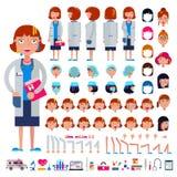 篡改建设者女性医疗字符头和面孔情感例证套的传染媒介建筑医院 向量例证