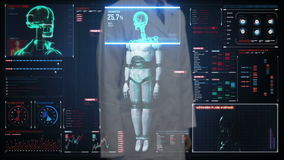 篡改感人的数字式屏幕,扫描半透明度机器人数字接口的靠机械装置维持生命的人身体 人工智能 股票录像