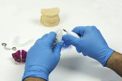 篡改擦亮说明牙齿技术的一条牙齿假肢 免版税库存图片