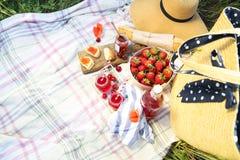 篮子、三明治、格子花呢披肩和汁液在鸦片调遣 免版税库存图片