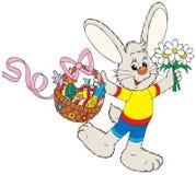 篮子兔宝宝复活节开花果子 库存照片
