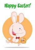 篮子兔宝宝复活节彩蛋桃红色运行中 图库摄影