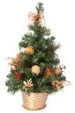 篮子圣诞节装饰金结构树 免版税库存图片