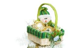 篮子圣诞节装饰集合柳条 库存照片