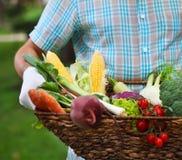 篮子在一个人的手上填装了新鲜蔬菜 免版税图库摄影