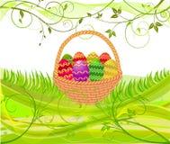 篮子复活节彩蛋向量 免版税库存照片
