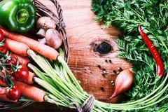 篮子新鲜的有机蔬菜 健康吃和饮食co 免版税图库摄影