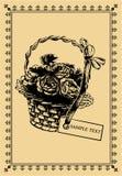 篮子明信片玫瑰葡萄酒 免版税库存图片