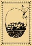 篮子明信片snowdrops葡萄酒 免版税库存照片