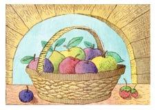 篮子果子 库存例证